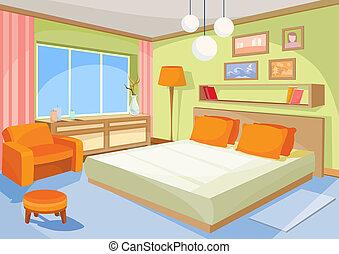 κρεβάτι , εσωτερικός , δωμάτιο , ζούμε , γελοιογραφία , ...