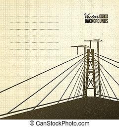 κρεμαστή γέφυρα , μέσα , sepia.
