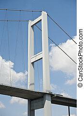 κρεμαστή γέφυρα , υποστηρίζω , εναντίον , γαλάζιος ουρανός