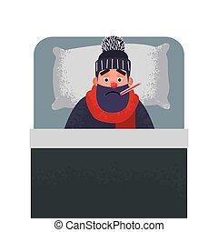 κρύο , άντραs , κρεβάτι , thermometer., άρρωστος