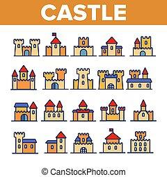 κτίρια , θέτω , γραμμικός , απεικόνιση , μεσαιονικός , μικροβιοφορέας , κάστρο
