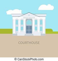 κτίριο , έγχρωμος , εικόνα , δικαστήριο