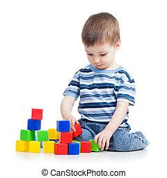 κτίριο , αγόρι , κορμός , γραφικός , τούβλα , παίξιμο , ή , παιδί