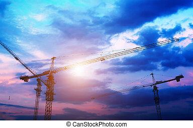 κτίριο , βιομηχανικός γερανός , ήλιοs , πάνω , sunrise., απεικονίζω σε σιλουέτα , δομή