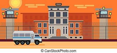 κτίριο , διαμέρισμα , απομονωμένος , εικόνα , φόντο. , μικροβιοφορέας , σχεδιάζω , φυλακή , desert., άσπρο , γελοιογραφία