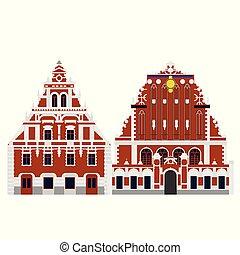 κτίριο , διαμέρισμα , blackheads, architecture., σπίτι , ταξιδεύω , riga , εξοχή , λατβία , landmark., sightseeing., εικόνα