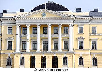 κτίριο , τετράγωνο , γερουσία , helsinki., φινλανδία , eu , sunset.