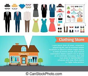 κτίριο , store., θέτω , ρουχισμόs , ρούχα