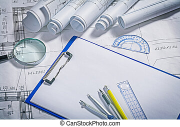 κυανοτυπία , magnifer, pemcil, πένα , περικυκλώνω , ruller, clipboard