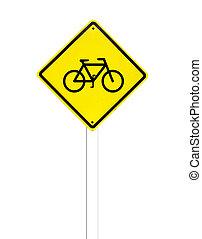 κυκλοφορία , άσπρο , ποδήλατο , σήμα