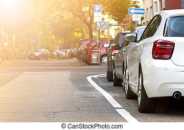 κυκλοφορία , αυτοκίνητο , concept., city., παρκαρισμένες