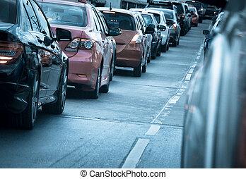 κυκλοφορία , δρόμοs , αυτοκίνητο , ουρά , κακός