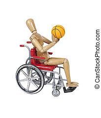 κυνήγι , καλαθοσφαίρα , μέσα , ένα , αναπηρική καρέκλα