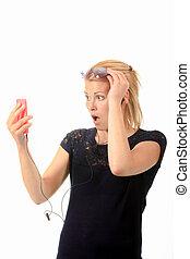 κυρία , έκφραση , smartphone, κράτημα , αγριομάλλης