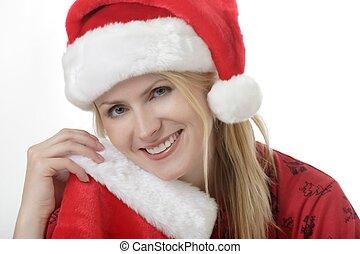 κυρία , καπέλο , santa