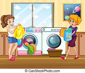 κυρία , πλύση , νέος , ρούχα