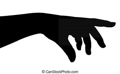 κυρία , χέρι , περίγραμμα