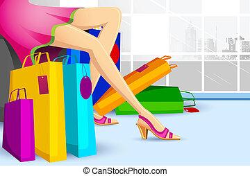 κυρία , ψώνια , πώληση