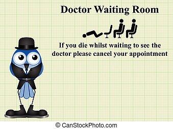 κωμικός , αναμονή , σήμα , δωμάτιο , γιατρός