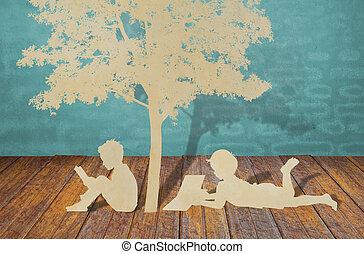 κόβω, διαβάζω, δέντρο, παιδιά, χαρτί, κάτω από, βιβλίο