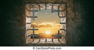 κόβω , freedom., εικόνα , διαφεύγω , παράθυρο , φυλακή ,...