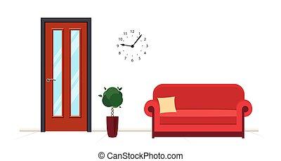 κόκκινο , ακολουθία. , αντιμετωπίζω , υποδοχή , ή , κέντρο , καναπέs , ιατρικός , door.