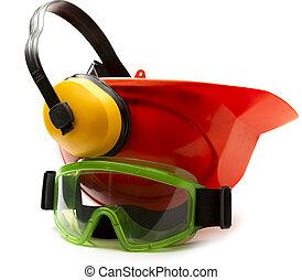 κόκκινο , ασφάλεια γαλέα , με , ακουστικά , και , μεγάλα ματογυαλιά