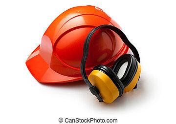 κόκκινο , ασφάλεια γαλέα , με , ακουστικά