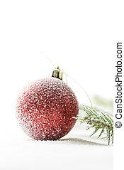 κόκκινο , διακοπές χριστουγέννων γαρνίρω , επάνω , χιόνι