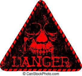 κόκκινο , και , μαύρο , κρανίο , κίνδυνοs