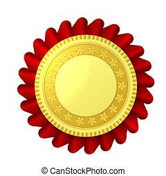 κόκκινο , και , χρυσός , ροδοειδές κόσμημα