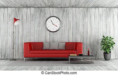 κόκκινο , καναπέs , μέσα , γριά , ξύλινος , δωμάτιο