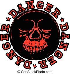 κόκκινο , κρανίο , γραμματόσημο , κίνδυνοs