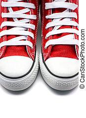 κόκκινο , πάνινα παπούτσια