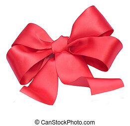 κόκκινο , σατέν , δώρο , bow., ribbon., απομονωμένος , αναμμένος αγαθός