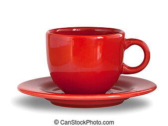 κόκκινο , φλιτζάνι του καφέ , με , πιάτο