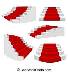 κόκκινο , 3d , απομονωμένος , ανεμόσκαλα , σκάλεs , κλίμαξ , staircases., αρχιτεκτονική , στοιχείο , άσπρο , εσωτερικός , βήματα , μικροβιοφορέας , σκάλα , carpet., συλλογή
