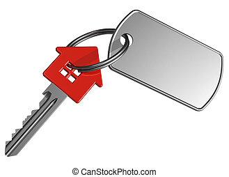 κόκκινο , house-shape, κλειδί , με , επιγραφή