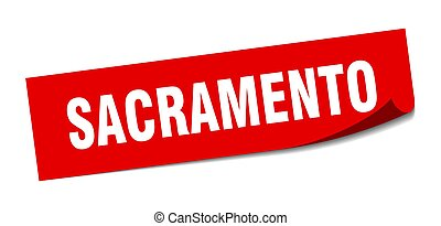 κόκκινο , sticker., σήμα , sacramento , ξεφλουδίζων ,...