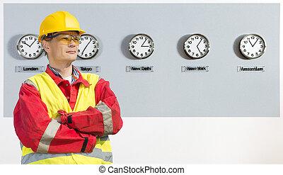 κόσμοs , βιομηχανικός , ώρα