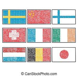 κόσμοs , θέτω , σημαίες , γελοιογραφία , εικόνα
