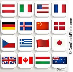 κόσμοs , μικροβιοφορέας , illustration., flags.