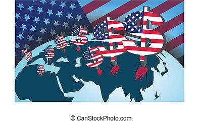 κόσμοs , οικονομικός , αμερική , σύνολο , terms., ηγεμονία