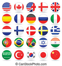 κόσμοs , σημαία , κουμπιά