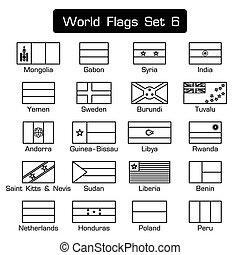 κόσμοs , σημαίες , θέτω , 6 , ., απλό , ρυθμός , και , διαμέρισμα , σχεδιάζω , ., ηλίθιος , περίγραμμα , .