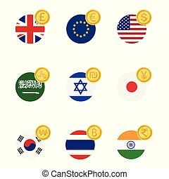 κόσμοs , σημαίες , και , σύμβολο , κέρματα , θέτω , συλλογή