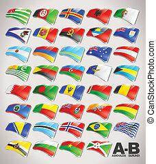 κόσμοs , σημαίες , μικροβιοφορέας , εικόνα , συλλογή