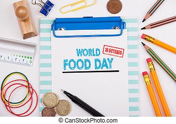 κόσμοs , τροφή , ημέρα , 16 , october., ακολουθία αναλόγιο , με , χαρτικά , και , ευκίνητος τηλέφωνο