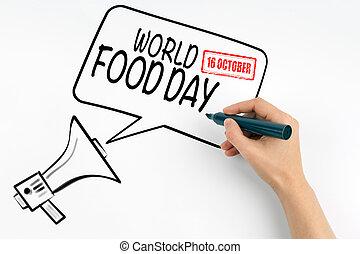 κόσμοs , τροφή , ημέρα , 16 , october., μεγάφωνο , και , εδάφιο , επάνω , ένα , αγαθός φόντο