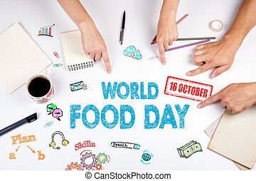 κόσμοs , τροφή , day., ο , συνάντηση , σε , ο , άσπρο , γραφείο , τραπέζι